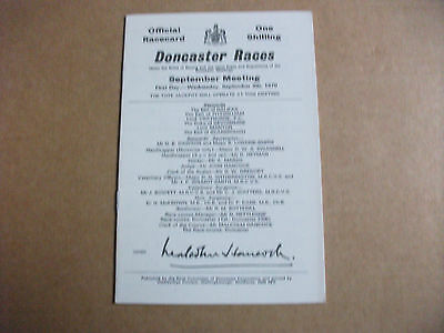 Doncaster Race Card 9Th September,1970 - Champagne Stakes & Breeders Dream
