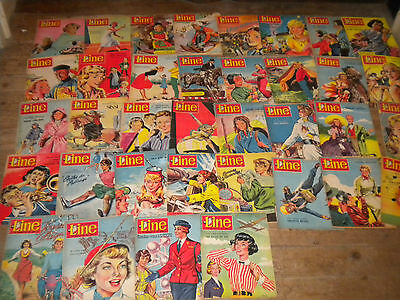 36 x Vintage comics LINE Le journal pour chic filles french 1950s Hérge Swift