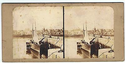Stereoview - Early Paddle Steamer In Harbour Jersey