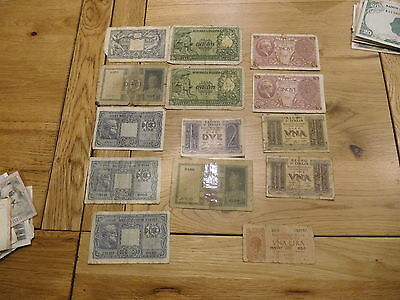 Italy 13 used small denomination old banknotes