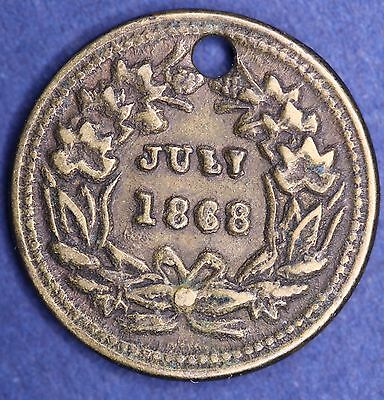 July 1868 US token (holed) 15mm Indian Head coin [8369]