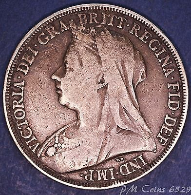 1895 Victoria Old Head Silver 925, Nice Crown LVIII, 5 Shilling coin [6529]
