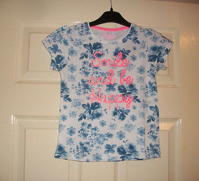 Girls Lovely White And Blue Floral Fun Wording Motif Top Age 5-6 Years Bnwt