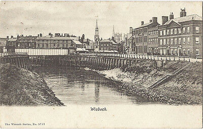 Old WRENCH postcard, WISBECH, River and Memorial, 1906