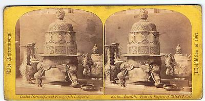 Stereoview - 1862 Exhibition - No 85 Enamels From Emperor Of China 's Palace