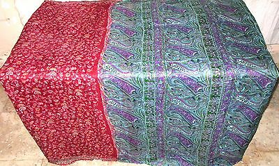 Maroon Green Pure Silk 4 yard Vintage Sari Saree Stylish Women's Curtain #ADY1A