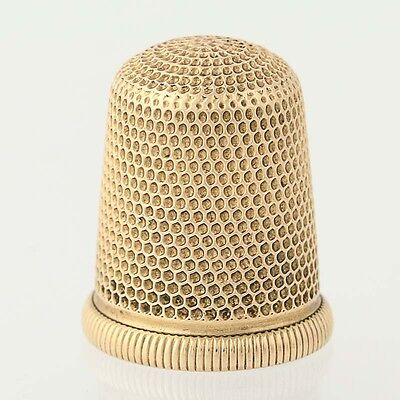 Simons Brothers Thimble - 14k Yellow Gold Engraved Sewing Tool