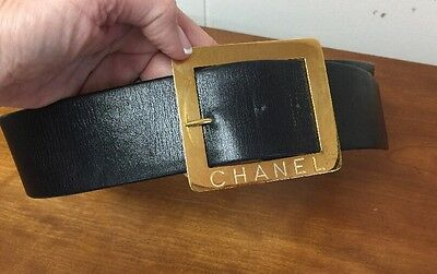 AUTH. Vintage Chanel Wide Black Leather W/ Large Gold Buckle Belt Made In France