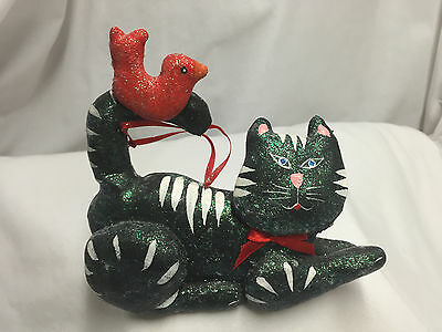 Hand Crafted Kitty Cat And Red Bird Hanging Decor Or Table Top Figurine
