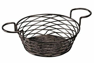 American Metalcraft BNBB83 Round Birdnest Wire Basket with Ramekin Holder, Black