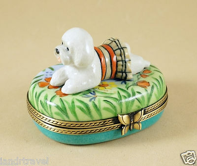 New French Limoges Box Dressed Up Bichon Frise Dog Puppy In Colorful Garden