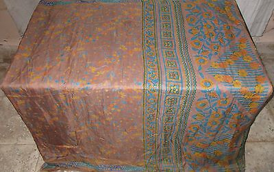 Blue Coffee Pure Silk 4 yd Vintage Antique Sari Saree actress Clothes UK #ADY7P