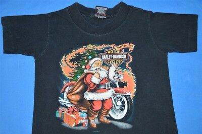 vintage 90s HARLEY DAVIDSON SANTA CLAUS HAPPY HOLIDAYS t-shirt YOUTH 2-4 KIDS