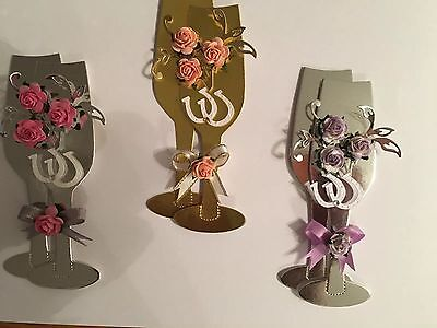 3 Champagne Flute Card Toppers