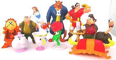 BEAUTY AND THE BEAST Figure Set DISNEY PVC TOY Cake Topper BELLE Gaston LUMIERE!