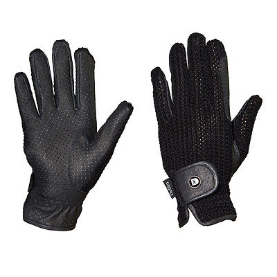 Dublin Cool Crochet Riding Gloves - Black or Natural - Different Sizes