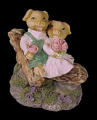 Pair of Collectible Whimsical Pigs Figurine Setting on a Log with Flowers Resin