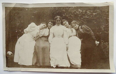 Antique Victorian Sepia Tone Photograph Young Women Outdoors in Best Dresses