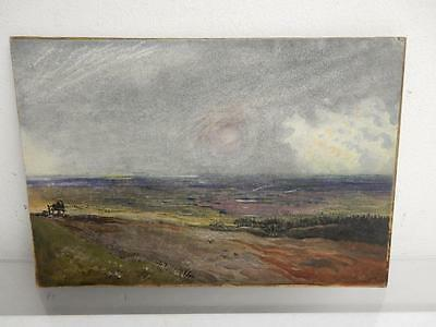 OLD PAINTING watercolour landscape horse and cart
