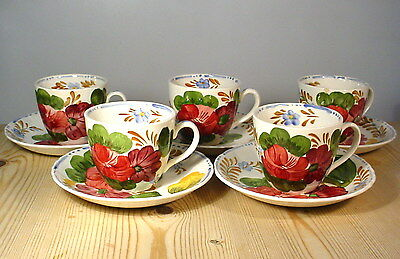 Simpsons Belle Fiore Five Cups & Saucers