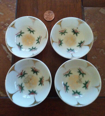 Lot Of 4 Matching  Porcelain Open Salt Cellar Dip Dish, Swirl Hallmark
