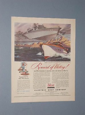 1945 Post War Elco Cruisers Pleasure Boat Ad Electric Boat Company Ad Pt Boats