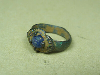 Ancient Magical Eye Ring With Glass Stone Bronze Roman 100-300 Ad