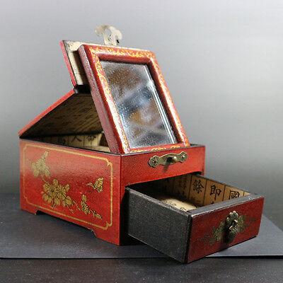 superb old china handwork wood jewelry box with draw and makeup mirror paint fig