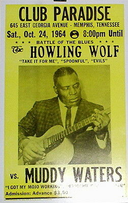 """Howlin' Wolf vs. Muddy Waters Concert Poster - 1964 Battle of the Blues 14""""x22"""""""