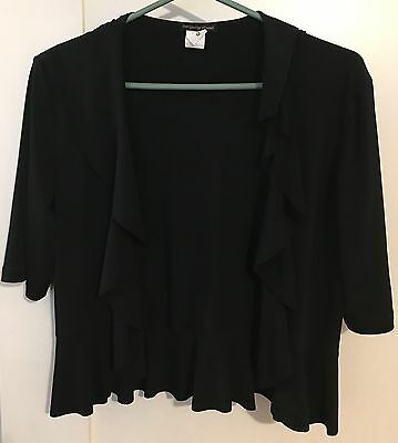 INTRIGUING THREADS Black Ruffle Open Front Stretch Shrug Jacket M