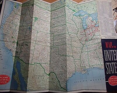 1940-50's New York Central System Railroad Map Of The United States