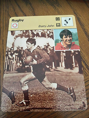 RUGBY UNION - BARRY JOHN / WALES / LIONS - Sportscaster Photo Fact Card