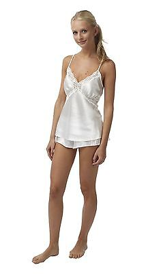 Ladies Satin Camisole SET Cami Top French Knickers Nightwear Cream Sizes 8 - 20
