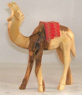 Olive Wood Camel with Red Saddle Christmas Figurine