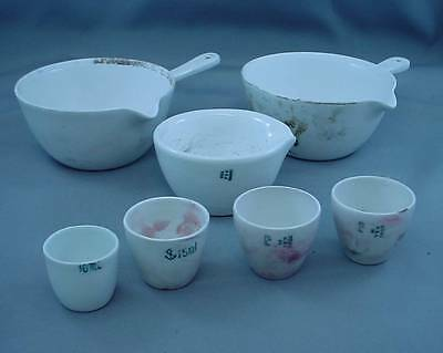OLD Porcelain Apothecary COORS USA Scientific Measure 7 Pieces Pharmaceutical