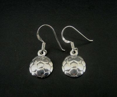 Round Flower Look Dainty Sterling Silver 925 Pierced Dangle Earrings