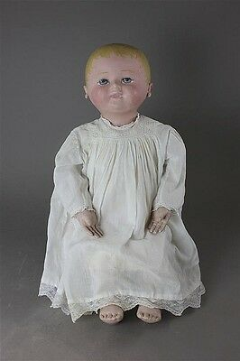 "Antique Large Early Example 23""  Marked Martha Chase Cloth Doll Excellent"