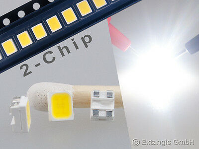 100x SMD LED PLCC4 3528 DOPPELCHIP PUR WEISS pure white 2-chip blanc very bright