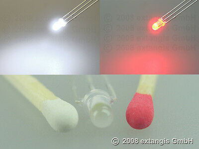 100x LED 3mm diffus ROT + PUR WEISS gemeinsame Kathode red + pure white