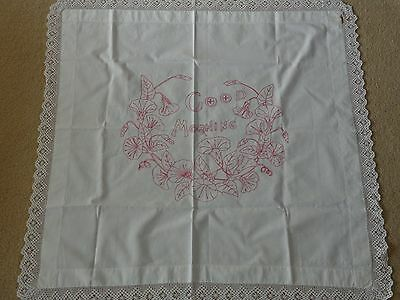 """Vintage Redwork Lace Edged Pillow Cover """"Good Morning"""""""
