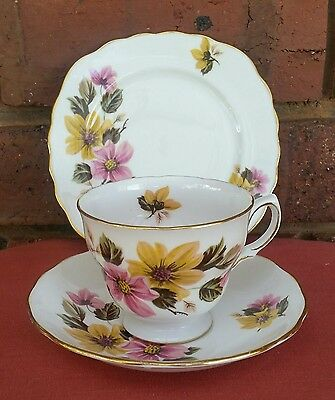 "PRETTY Vintage ""ROYAL Vale BONE China FLOWERS Trio PLATE Cup"" Old COLLECTABLE!"