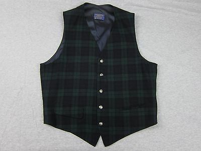Men's Pendleton Green Plaid Dress Vest Waistcoat Medium Wool made in USA