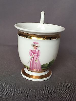 19thc Antique Paris French Porcelain Lady Portrait Teacup Espresso Cup w Gilt