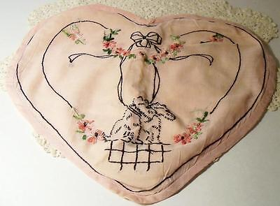 Antique/Vintage Heart Shaped Pillow Cover~Embroidered Scottie Terrier Dogs~Flora