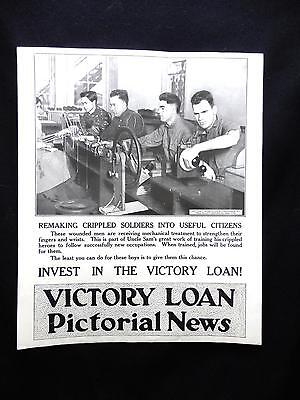 Vintage WWI Invest in The Victory Loan PICTORIAL NEWS Poster Wounded Soldiers
