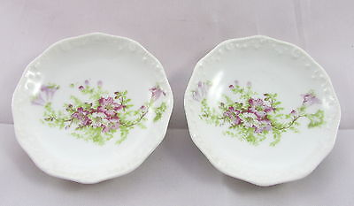 Antique LRL Limoges France Porcelain Purple Morning Glory Flowers Butter Pat x2