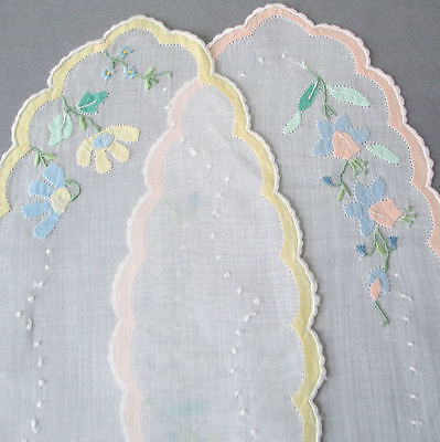 """2 Vintage MADEIRA Organdy 12"""" Doilies Hand Embroidered Appliqued Pastel FLOWERS"""