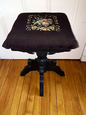 Antique Victorian Eastlake Swivel Piano Stool w/ Embroidered Seat