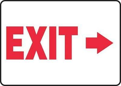 Emergency Exit Sign, 7 x 10In, R/WHT, Exit
