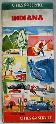 Cities Service Indiana Automobile Highway Road Map 1956 Vintage Travel